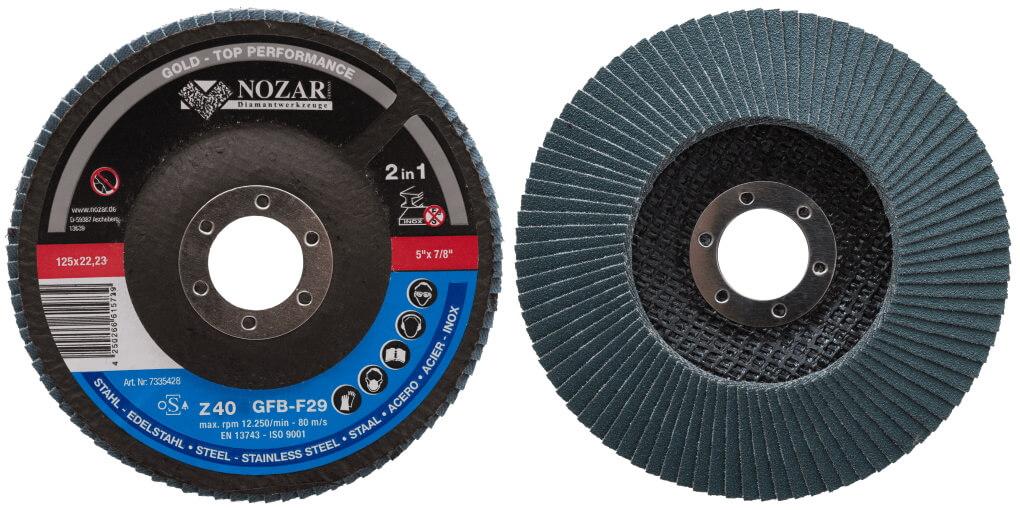 10 Stück Nozar Fächerschleifscheibe Inox Z40 Z60 Z80 Z120 Körnung / Gold 125x22,23mm 125er Schleifscheibe