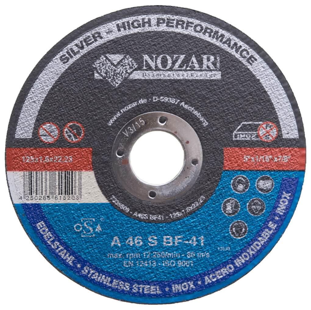 50 Stück Nozar Trennscheiben INOX flach / Silver 125x1,2x22,23mm Profi-Line 125er Trennscheibe