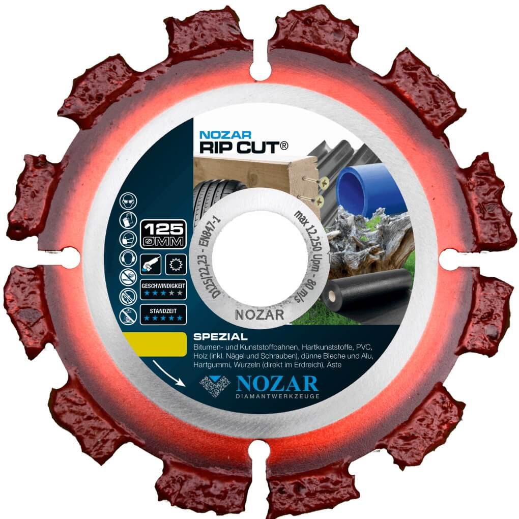 Nozar RIP-Cut 125x22,23mm Hartmetall-Trennscheibe für Holz, Dachpappe, Bitumen