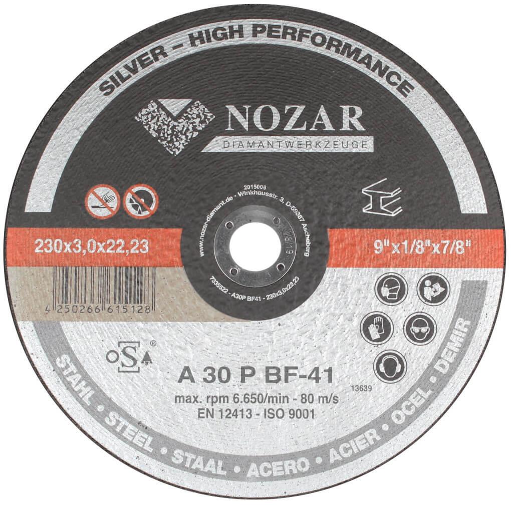 25 Stück Nozar 230er Trennscheibe Stahl flach / Silver 230x3,0x22,23mm für Trennschleifer Winkelschleifer