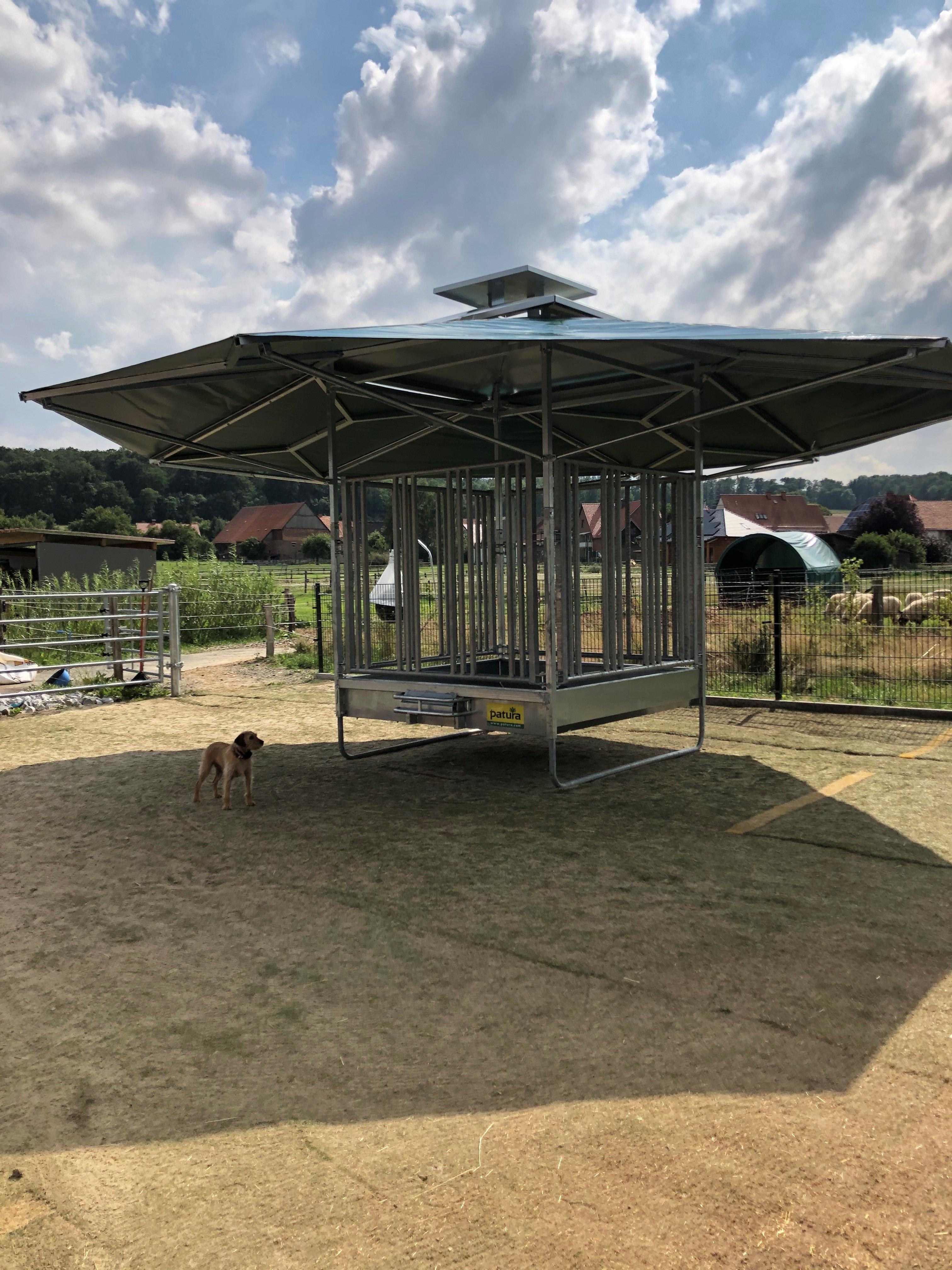 PATURA Klima-Raufe mit Dach Profi-Viereckraufe mit Sicherheits-Pferdefressgittern 12 Fressplätze