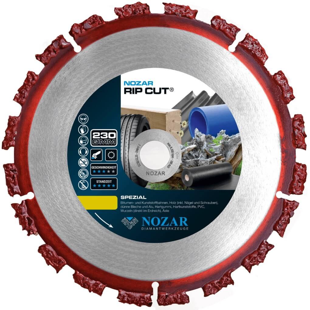 Nozar RIP-Cut 230x22,23mm Hartmetall-Trennscheibe für Holz, Dachpappe, Bitumen