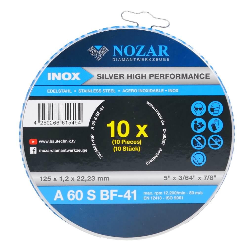 10 Stück Nozar Trennscheiben INOX flach / Silver 125x1,2x22,23mm Profi-Line 125er Trennscheiben Blechdose